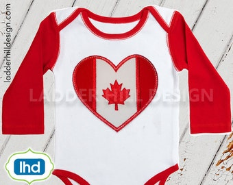 Canada Flag Applique -- Canada Embroidery Design -- Canadian Embroidery Design -- Canada Flag Heart Embroidery Applique ID012