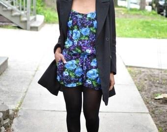 Vintage Blue, Purple & Black Floral Romper - Size Medium