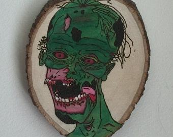 Zombie Head Woodburning