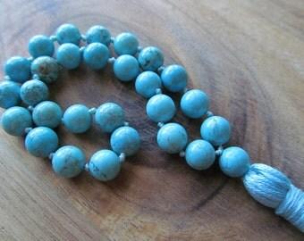 Turquoise Mala Beads, 27 Bead Mala, Pocket Mala, Meditation Beads, Buddhist Prayer Beads, Japa Mala, Hand Knotted Mala, Yoga Jewelry