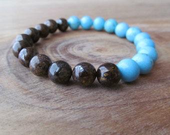 Turquoise and Bronzite Bracelet for Men, Stacking Bracelet, Men's Bracelet, Mala Bracelet, Layering Bracelet, Beaded Bracelet, Gift for Men
