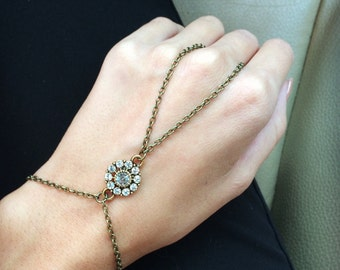 Vintage Rhinestone Flower Hand Chain Slave Bracelet