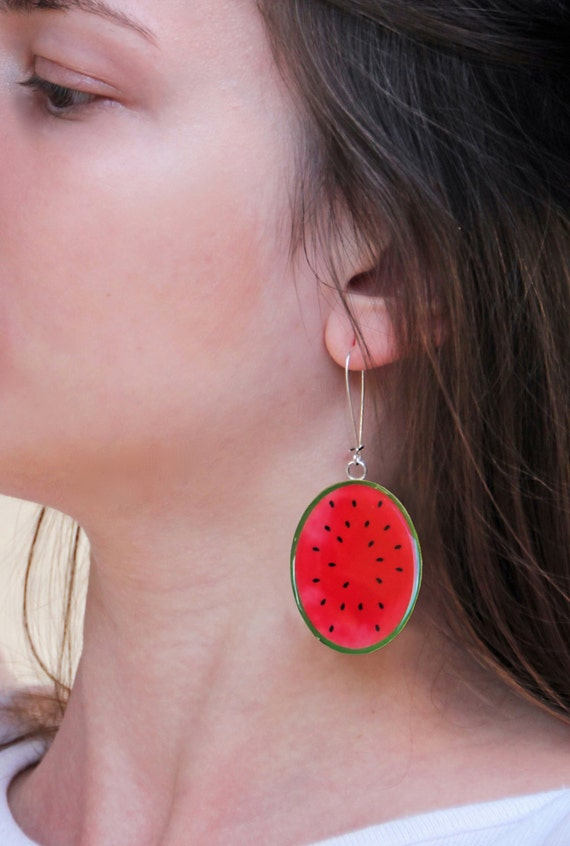 Watermelon earrings, long earrings, fruit resin earrings, red fruit earrings, summer jewelry, fruit jewelry, lightweight earrings, pop art