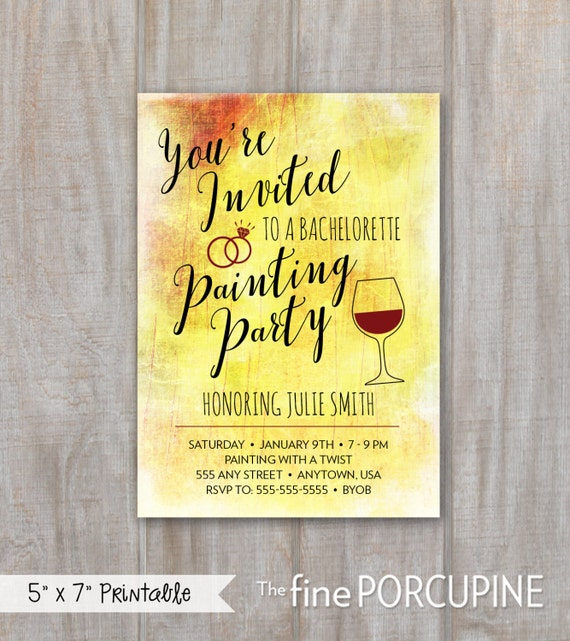 Items similar to Painting Party Invites, Wine and Painting ...