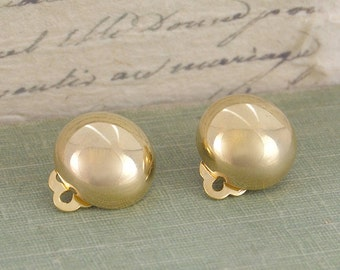 Yellow Gold Clip On's, Gold Earrings, Silver Clip On's, Button Earrings, Sterling Silver, Simple Earrings, Clip On Earrings, Gold Dome, 925