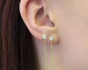 Gold Drop Earrings, Gemstone Studs, Gold Stud Earrings, Topaz Earrings, Statement Earrings, Double Stud Earrings, 925 Earrings, Boho Earring