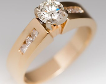 1/2 Carat Round Brilliant Diamond Engagement Ring 14K Yellow Gold WM10281