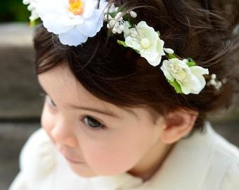 THE JULIET BABY - White Children's Flower Crown Vine Hair Accessories Flower Girl Boho Wedding Floral Wreath Baby Hair Toddler Bow