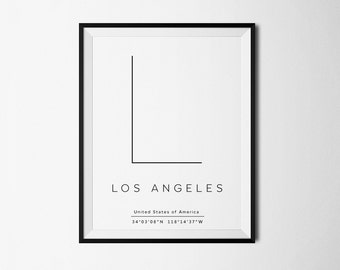 Los Angeles, Los Angeles Print, Los Angeles art, Los Angeles poster, LA print, LA poster, LA coordinates, Los Angeles Coordinates, City art