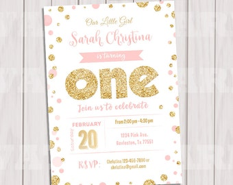 Pink and Gold Birthday Invitation, Gold Glitter polka dot Invitation, 1st Birthday Invitation, Girl Birthday, Kids invite, Printable invite