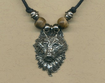 Wolf necklace on sliding knot cord