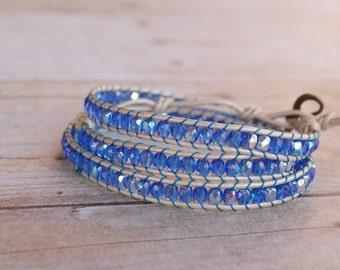 Cobalt blue Leather wrap bracelet, beaded leather bracelet, bead bracelet, leather bracelet, womans gifts, jewelry gifts, woven bead bracele