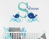 Custom Name Initial & Whales Wall Decal - Personalised Nursery Wall Decal - Nautical Vinyl Wall Sticker