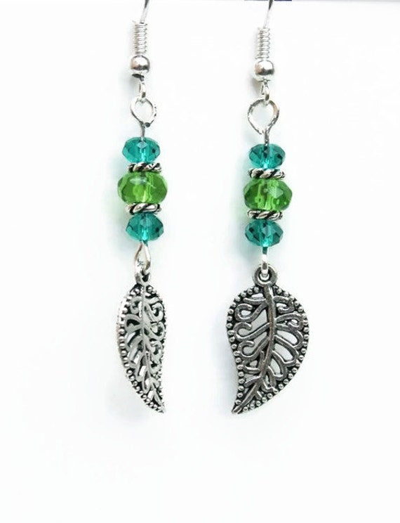 teal green earrings filigree leaf woodland earrings elven