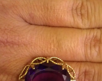 Vintage Fine Oval 20CT Amethyst Filagree Ring 14K Yellow Gold Size 10 GORGEOUS