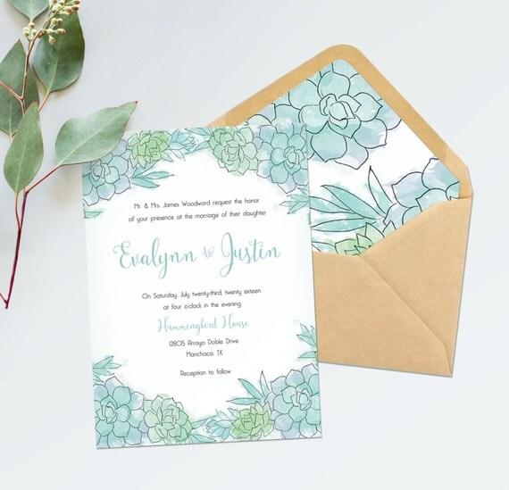 succulent wedding invitations succulent bridal shower, Wedding invitations
