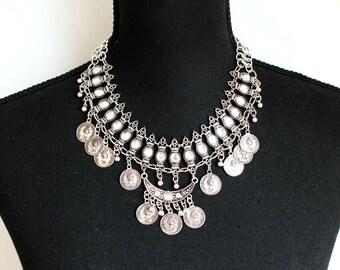 Vintage style Coin Necklace, Boho Necklace, Retro Necklace, Choker Necklace.