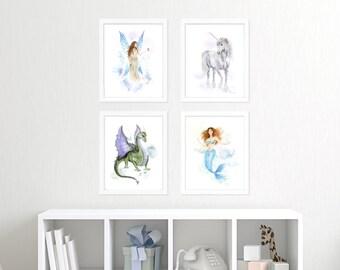 Princess Nursery Print Set - Fairy Tale Nursery Prints - Princess Room Decor - Nursery Decor - Unicorn - Mermaid - Fairy - Dragon - Fantasy