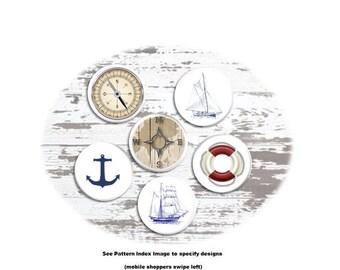 Nautical Drawer Pull - Coastal Dresser Knob, Sailboat, Compass, Anchor, Life Ring, Boating, Beach House - Bathroom Cabinet Handles - 115G14