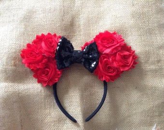 Mouse Ears- Red and Black Mouse Ears Headband