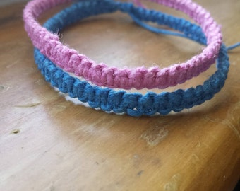 Pink and Blue Hemp Bracelet
