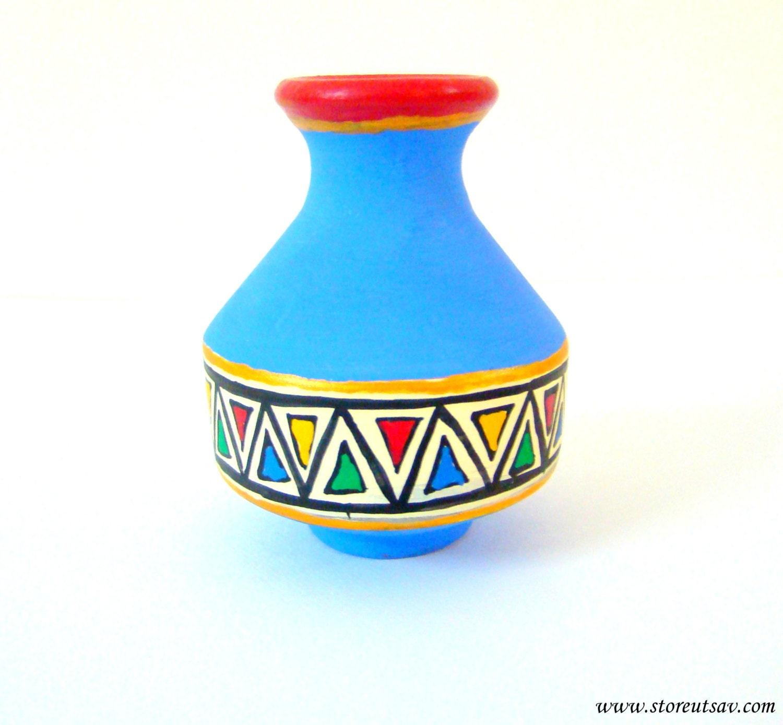 vase pottery terracotta home decor indian handicraft blue zoom
