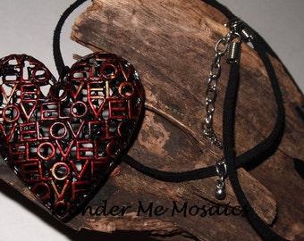 15% SALE  Love Heart Pendant & Necklace - Alcohol Ink