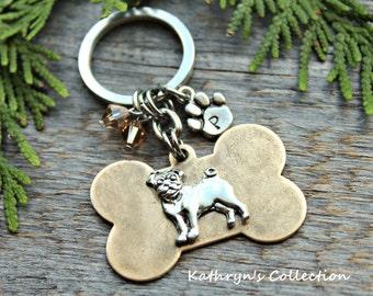 Pug Keychain, Pug Lover Gift, Pug MOM DAD, Dog Lover Gift, Pug Gift, Dog Breed Keychain