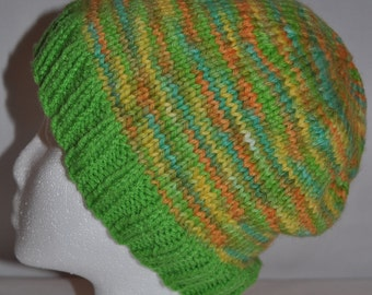 Green, Orange, and Blue Hand Dyed Knitted Hat