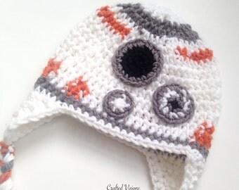 PATTERN** Crochet R2D2 (BB2) hat, All Sizes, Newborn to Adult, Star wars hat, R2D2 hat, Crochet Hat Pattern