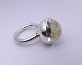 Sterling silver and rutilated quartz 'Crystal Ball' ring.
