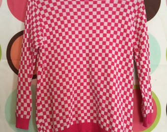 CHECKERED TOP cute top women's clothing knit top pink and white 3/4 sleeve shirt
