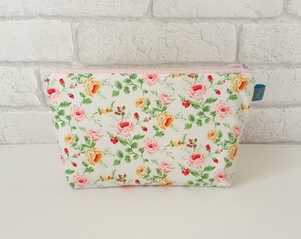 Pretty Floral Cosmetic Pouch with green cotton floral lining
