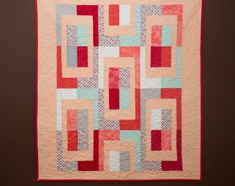 Baby quilt, Toddler quilt, lap quilt, wall hanging, modern quilt, peach, mint, coral, grey. All proceeds to Leukemia and Lymphoma Society.
