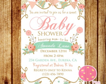 Shabby Chic Baby Shower Invitation, Peach and Mint Baby Shower, Floral Baby Shower Invite