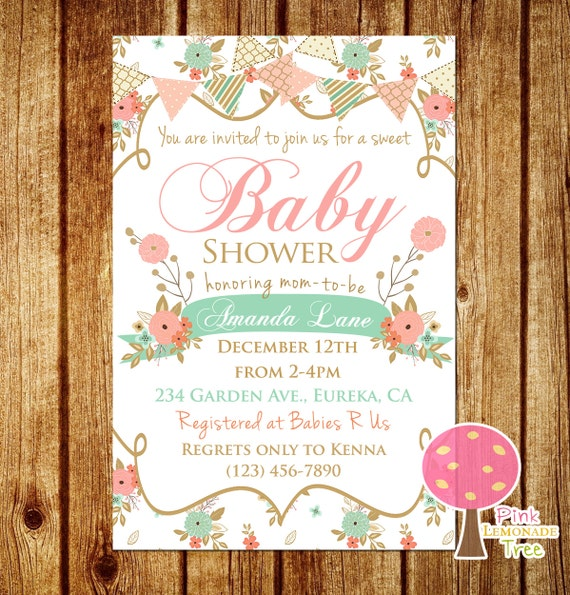 shabby chic baby shower invitation peach and mint baby shower floral
