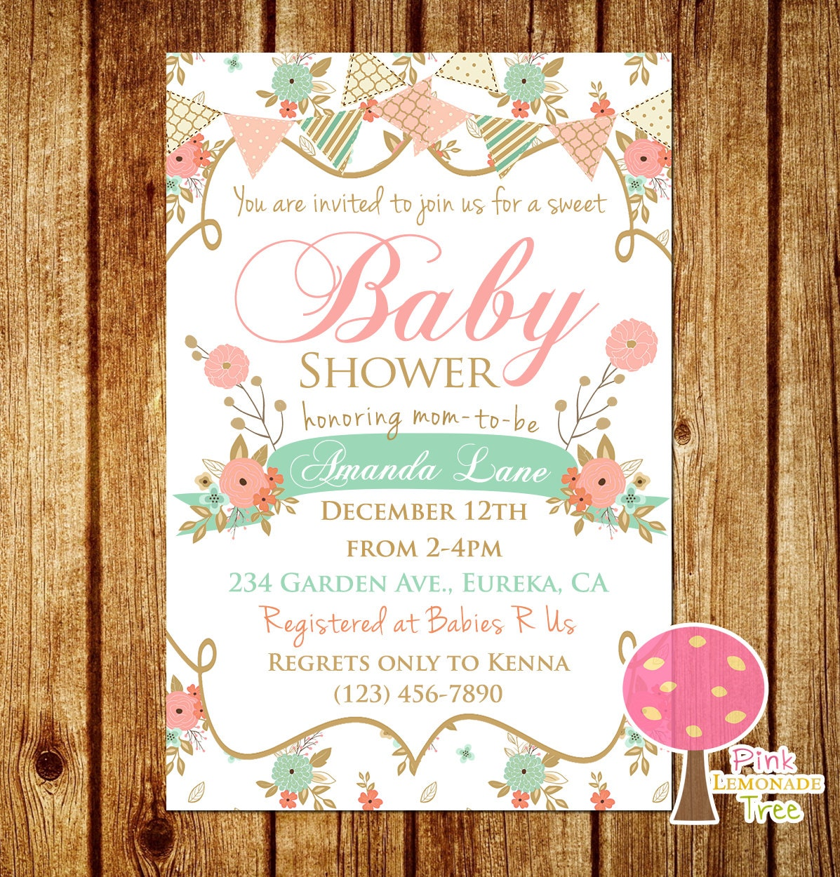 peach baby shower  etsy, Baby shower