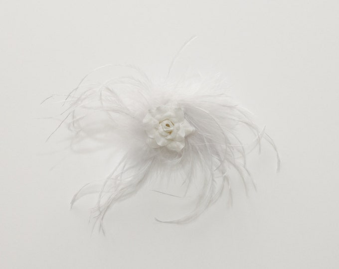 White Feather Flower Clip