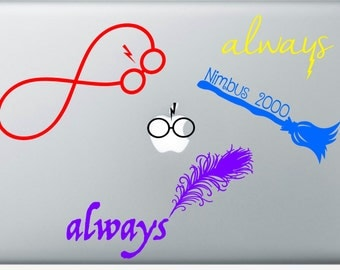 Harry Potter Inspired Decals, Always, Nimbus 200, Lightning Bolt and Glasses Decals