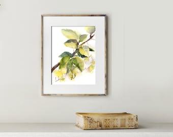 Leaves Painting, ORIGINAL Watercolor Painting, Green, Watercolour