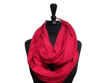 Red Scarf, Infinity Scarf, Jersey Scarf, Cotton Scarf, Jersey Infinity Scarf, Cotton Jersey Scarf
