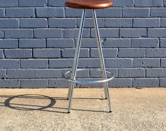 Vintage industrial metal stool with wooden seat bar stool