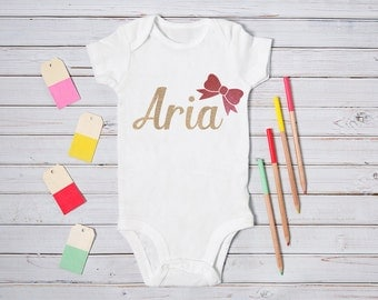 Personalised Baby Girl Onesie - Pink / Glitter / Bow / Gold / Bling / All in One / Vest