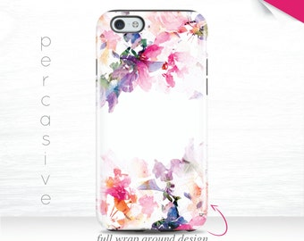 Pink Floral iPhone 7 Tough Case, iPhone 6s Case Spring, iPhone SE Case Wrap Around, iPhone 6 Plus Case Cute Flower iPhone 6 Art Case  10L