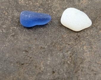 Lake Erie cornflower blue and white opalescent beach glass