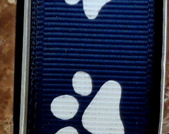 "2 Yards 7/8"" Navy Blue with White Animal Paw Print  Grosgrain Ribbon - Team - Cheer - School - US Designer"