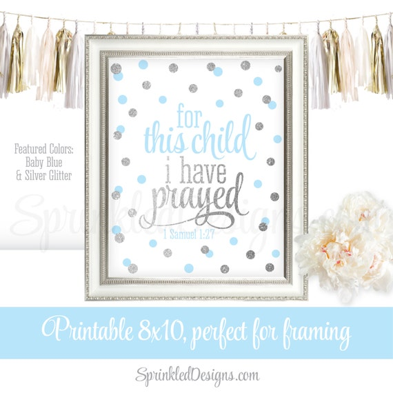 For This Child I Have Prayed Wall Art 1 Samuel 1:27, Bible Verse ...