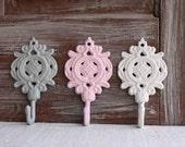 3 Wall Hooks, Gray Hooks, Pink Hooks, White Hooks, Shabby Ornate Cast Iron Bathroom Towel Hooks Nursery Key Hooks, Decorative Wall Hooks