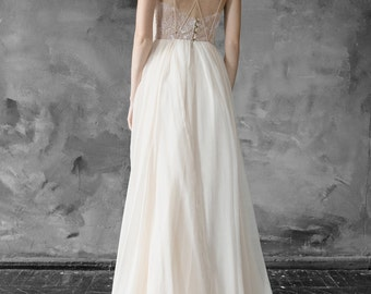 Lace and chiffon halter-neck wedding dress, open back wedding gown, slit dress // Melita