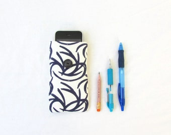 Blue Iphone cover, hand printed fabric, small iphone case, fabric phone sleeve for Iphone 5s 5c 4s samsung galaxy s2, handmade in the UK